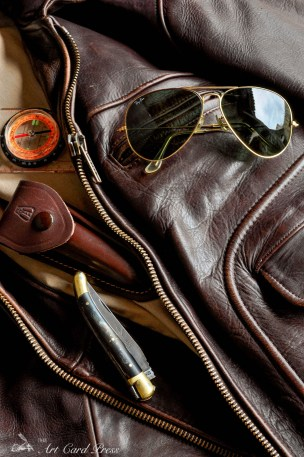 Leather jacket & compass penknife 2