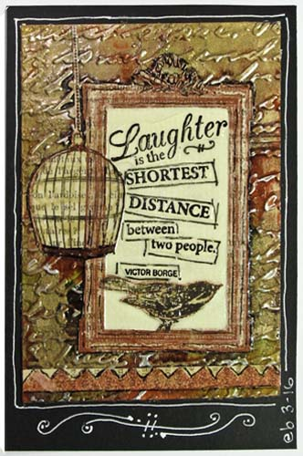 Embossed Aluminum Postcard Art: Laughter is the Shortest Distance