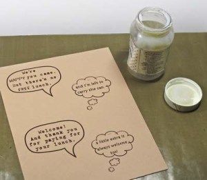 Donation Can: Create Word & Thought Bubbles in Graphic Program; Then Print