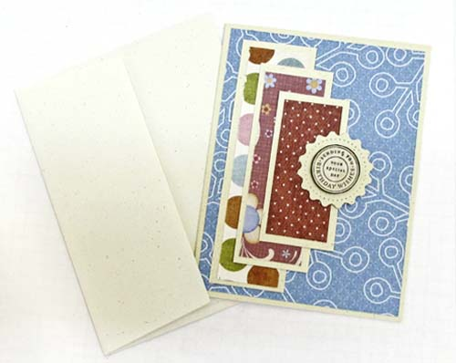 Pattern Mix and Match Card: Blue & Maroon