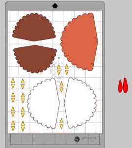 Turkey Place Cards - Laying Out The Parts in Silhouette or Cricut