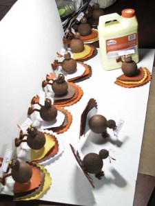 Turkey Place Cards - 9 More Gobblers Propped to DRy Assembly Line Fashion