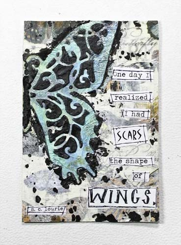 Mixed Media Scars the Shape of Wings Postcard