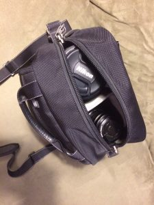 Stacked lenses fit comfortably and compactly in a small camera bag.