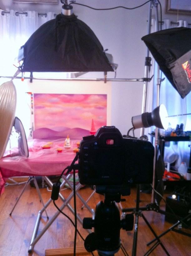 On set Harper Collins shoot