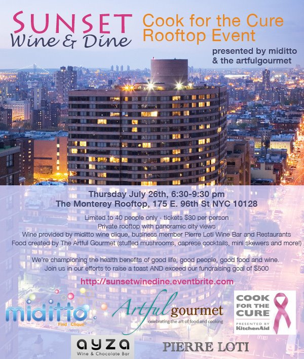 Sunset Wine and Dine Rooftop Event for KitchenAid Cook for the Cure
