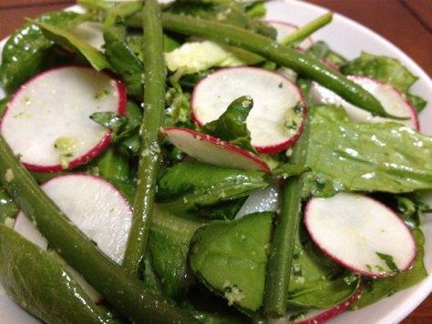 Radish, Spinach, Romaine and String Bean Salad