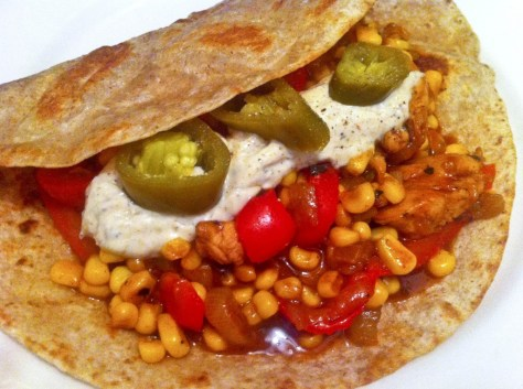 Crunchy Chicken Fajita Wraps w/ Habanero, Green Chile-Pepper Jack Cream