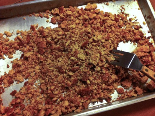Crumble oat cookie into fine crumbs