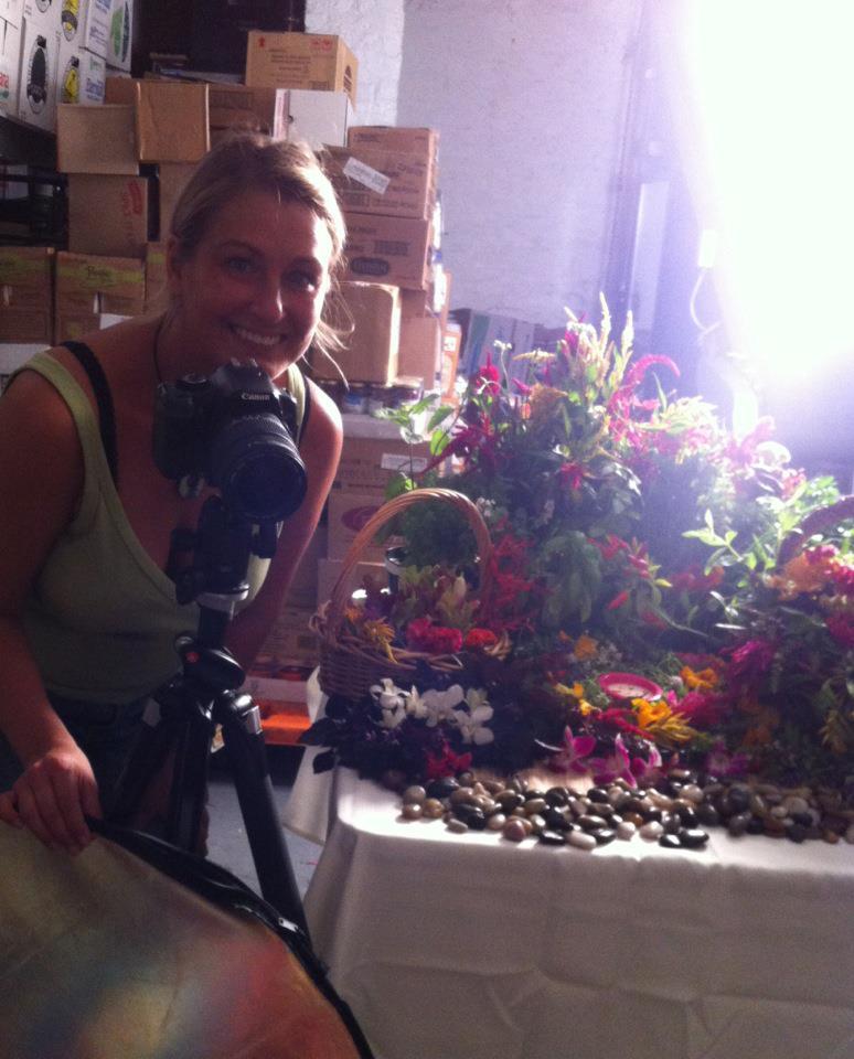 Kristen on set shooting garden scene