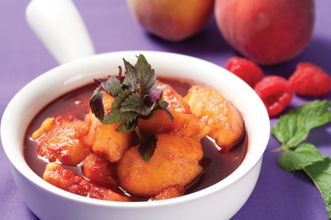 Poached Peaches with Raspberry Sauce