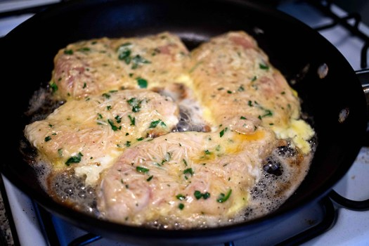 Saute the chicken in olive oil for approx. 6 minutes on each side until golden brown.