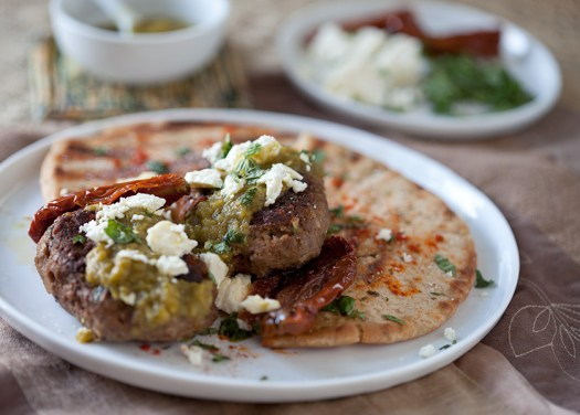 Spiced Moroccan Burgers with Green Harissa, Feta and Mint