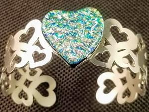 Fused glass heart bracelet