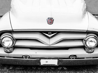 Front of a White Vintage Ford Truck
