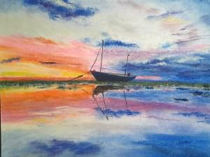 Lone Boat at Sunset by Loren Tsang