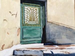 Santorini Shadows Blue Door 2 by Kathy Nay