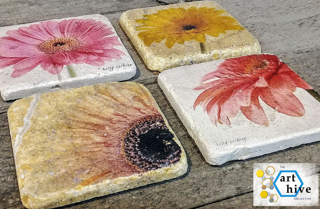 THE ART HIVE END OF SUMMER GIVEAWAY!!!   A set of 4 Gerber Daisy Coasters on Travertine Tiles and backed with cork.  (Value $40)  Enter here  The Art Hive End of Summer Giveaway