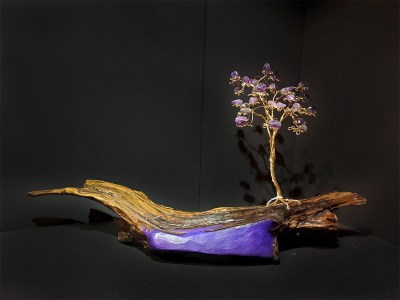 Brass Tree with Amethyst by Bill Cheff