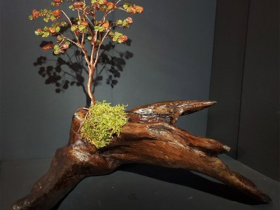 Copper tree with Carnelian & Peridot by Bill Cheff