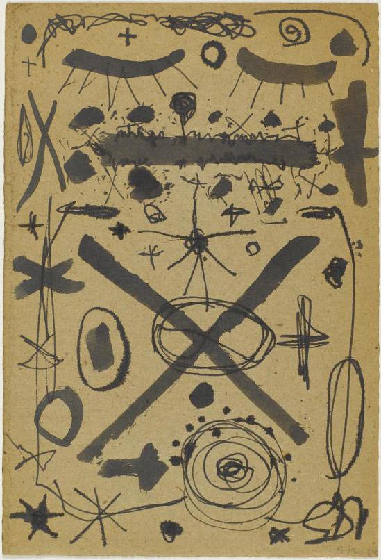 """Sonja Ferlov Mancoba """"Sans titre"""", 1964. 31 x 21 cm. Encre de Chine sur papier. © Centre Pompidou, MNAM-CCI/Audrey Laurans/Dist. RMN-GP © Adagp, Paris, 2019"""