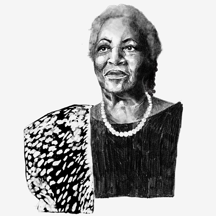 "Diana Ejaita, ""Portrait of Toni Morrison for the Washington post"", 2019. Pencil and digital. Image copyright and courtesy of the Artist."