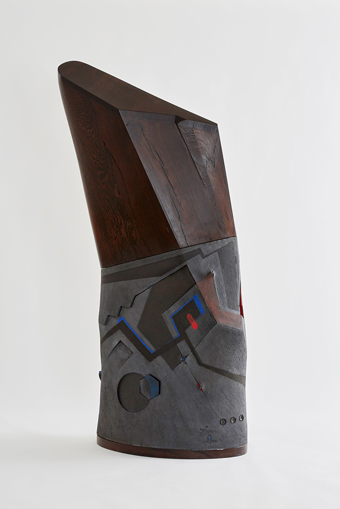 "Andile Dyalvane, ""Idladlo Silo"", 2017. Black clay, 65 x 35 x 144 cm. Photo by Justin Patrick, Courtesy of Southern Guild."
