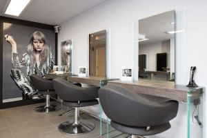 adding to the contemporary interior style, the salon..