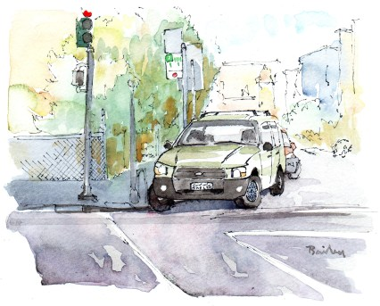 """Brian Bailey, The Car on the Corner, Watercolor, 7"""" x 5"""" © 2016"""