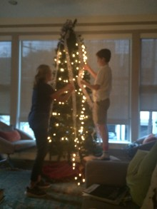 An assembled and lit tree, thanks to Ellen and Hamp
