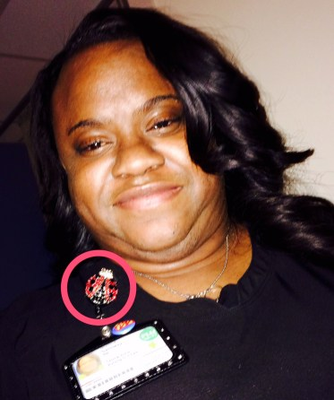 Monica and her lady bug badge holder