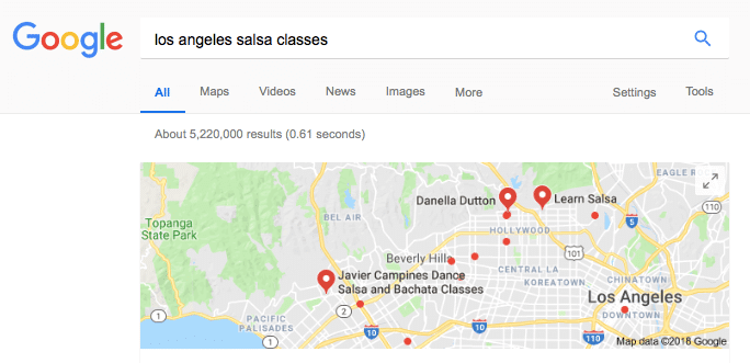 "google search for the phrase ""los angeles salsa classes"" with many results showing on the map. classes are opportunities to build a friend circle"