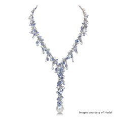 Hodel South Sea baroque pearl (18.2mm) and keshi pearl necklace with sapphires, white sapphires and diamonds in 750 white gold