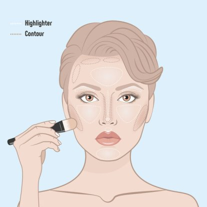 How to contour woman face.