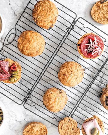 Savoury scones with cheese, smoked paprika, leek and black olives