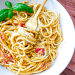 This 3 ingredient creamy herb and tomato pasta is comfort in a bowl. Imagine a vegetarian carbonara. Creamy and luxurious with a bold undertone of umami richness. Just 3 ingredients. I can't get over it.