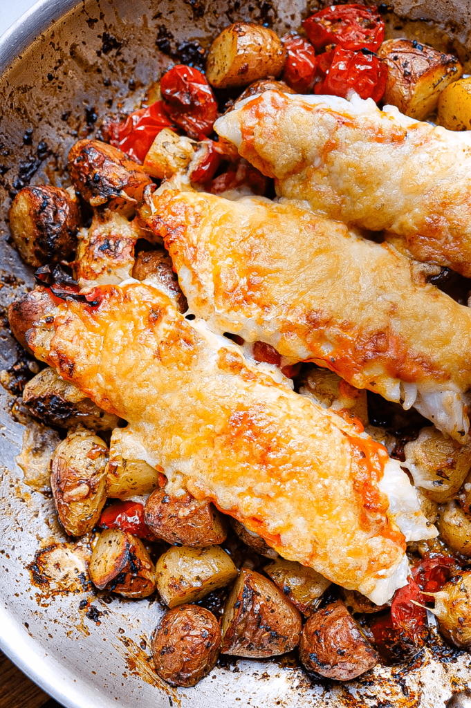 saffron red fish with herb & red pepper potatoes-1790