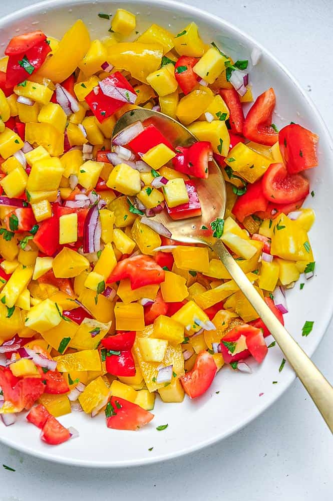 mango salsa for spicy fish tacos with creamy white lightning sauce