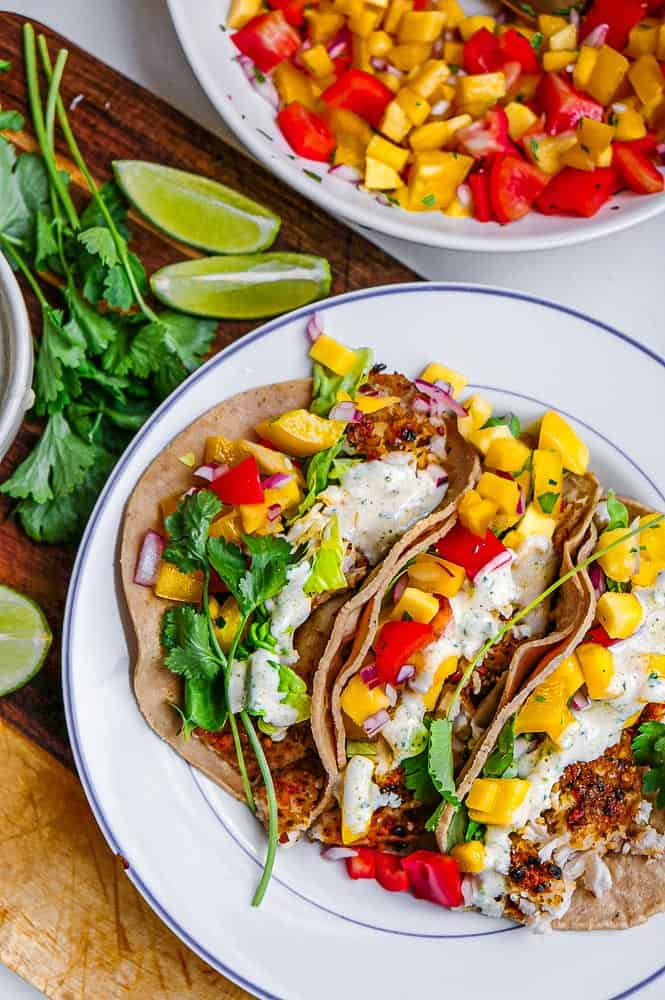 fish tacos with mango habanero salsa