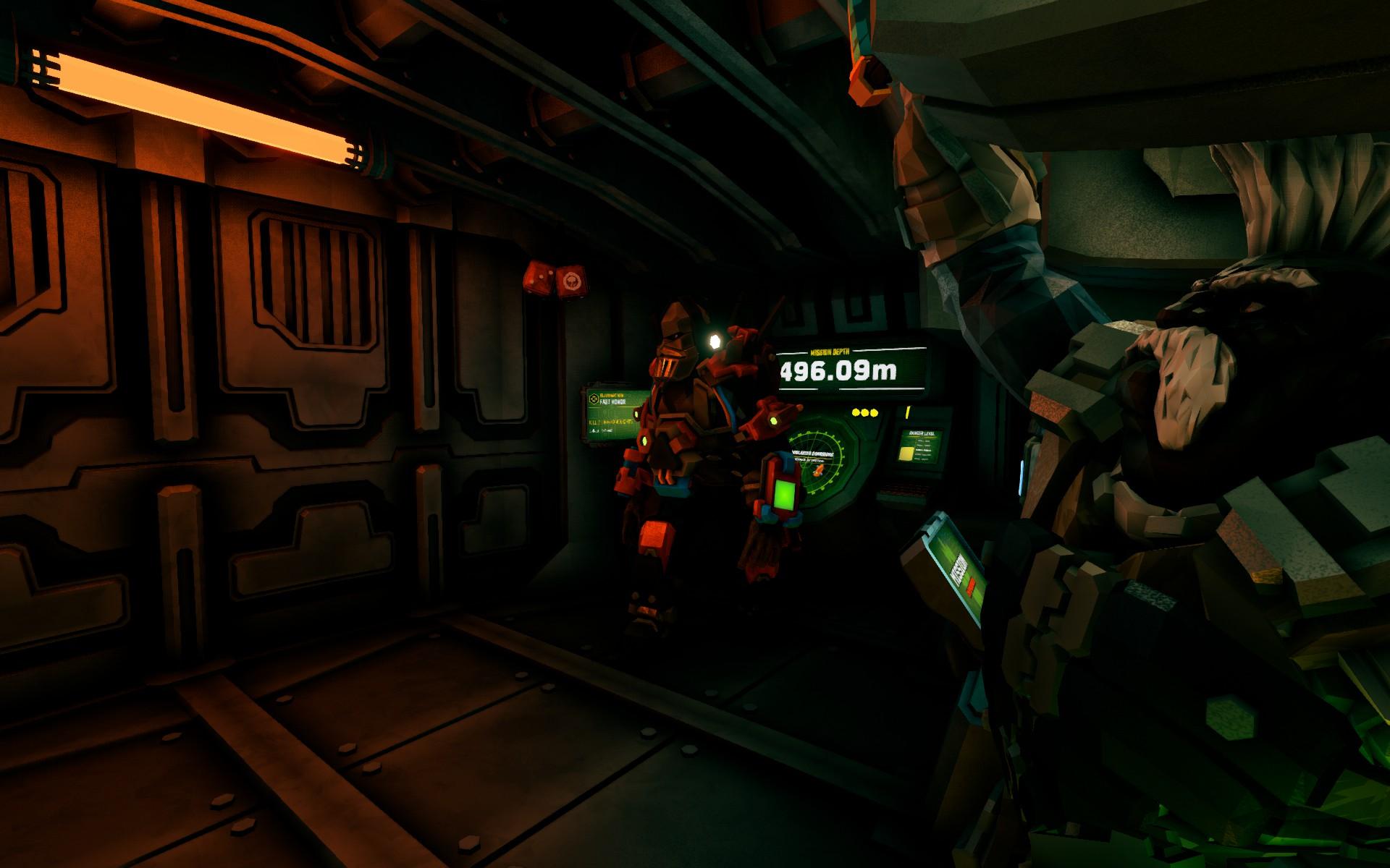Screenshot of dwarves aboard the escape pod in Deep Rock Galactic