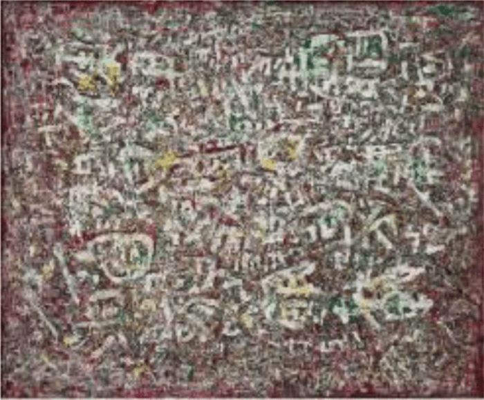 George Chann 陳蔭羆 Reincarnation of Tablet, 1950 121.8 x 100.5 x cm Oil on canvas