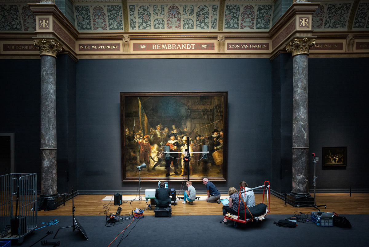 Preliminary research on Rembrandt van Rijn's The Night Watch (1642) at the Rijksmuseum. Photo by Daniel Maissan, courtesy the Rijksmuseum..jpeg