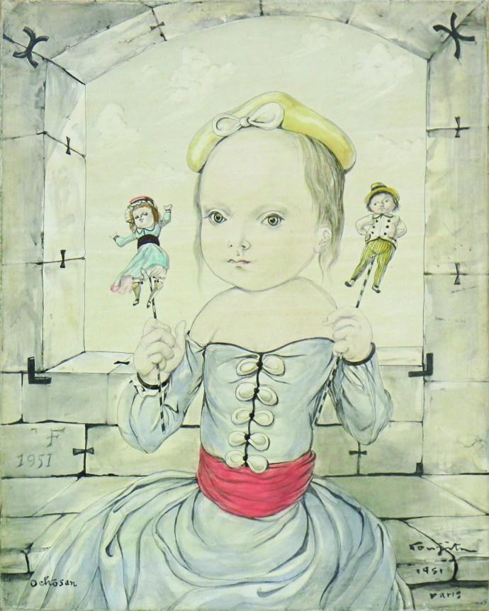 ART TAIPEI 2019 highlight - 藤田嗣治Leonard FOUJITA Dolls and girl 油彩、畫布 24.2x19.3cm 1951 Courtesy of Galerie Nichido