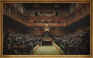Banksy's Devolved Parliament shattered the artist's record, selling to applause for £9,879,500 / $12,142,893 / €11,127,304 (est. £1.5-2m).