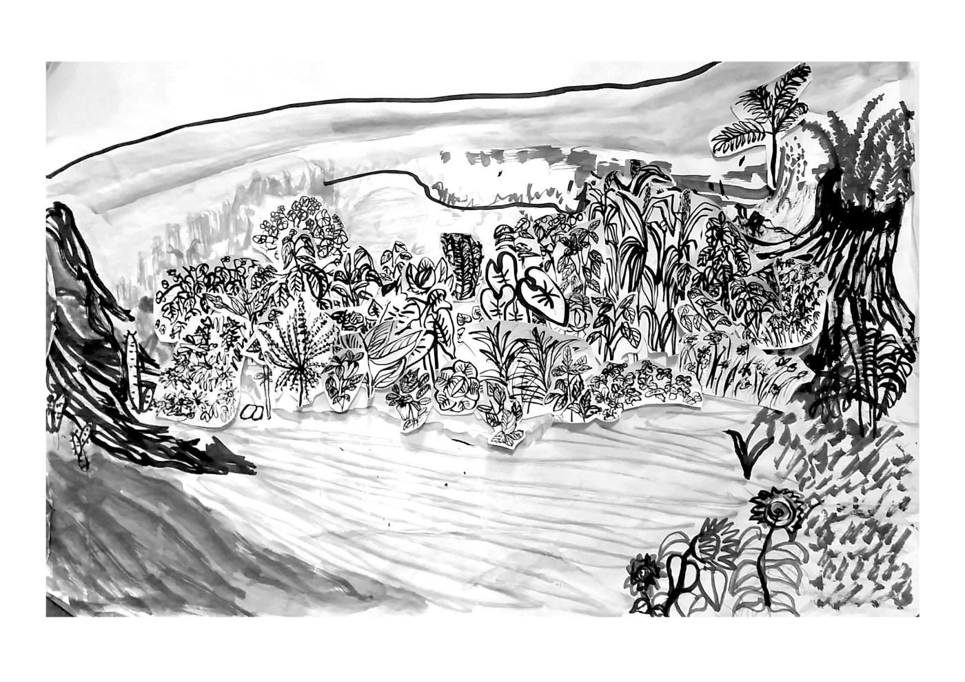 05_《森人─太魯閣藝駐計畫》余曉冰〈反過來〉,水墨紙本拼貼,105 x 75cm,2019,影像由藝術家提供