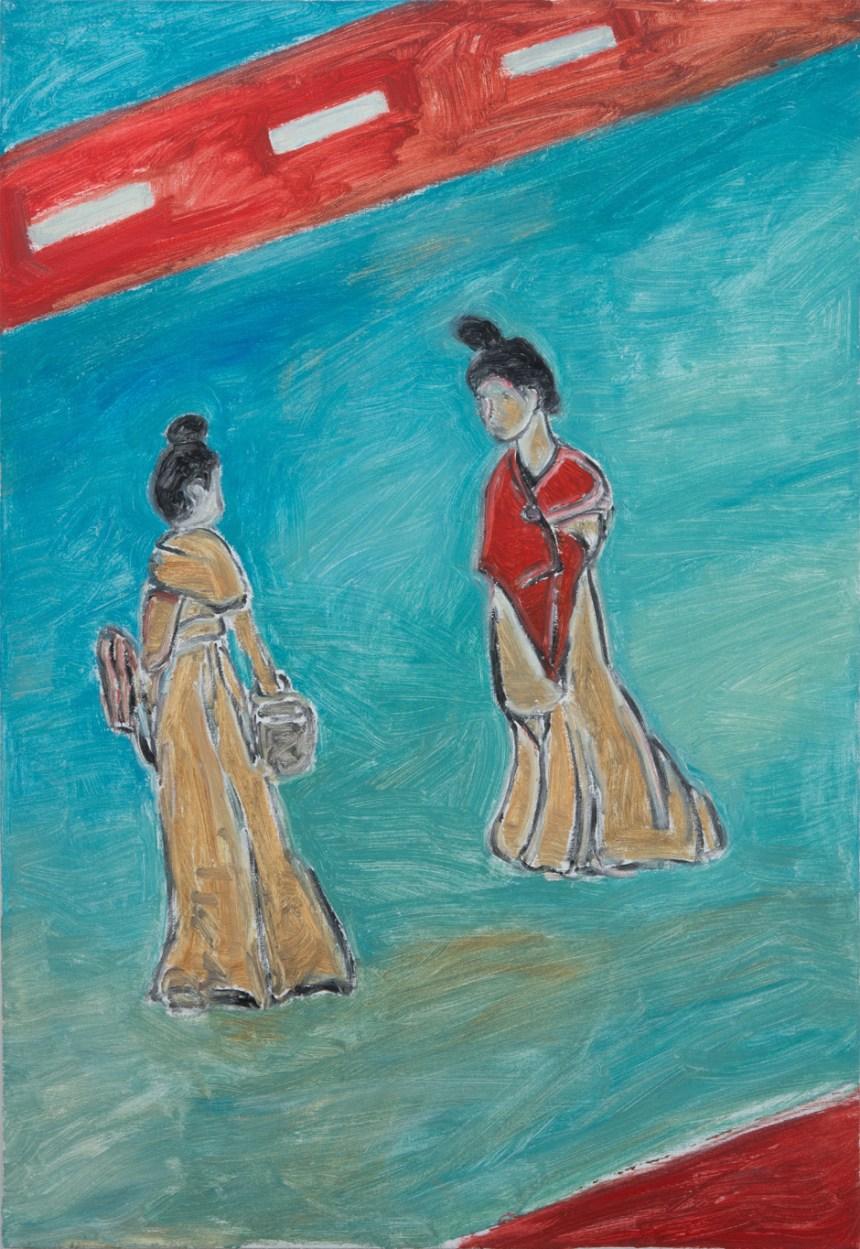 趙剛 Zhao Gang, 對話 Dialogue, 2016, 畫布油彩 oil on canvas, 100 x 70 cm