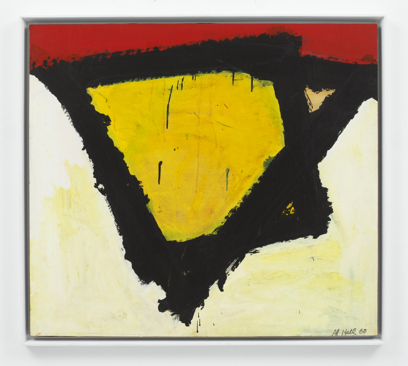 """AI Held Untitled """"N"""" 1960  Acrylic on paper mounted on canvas  35 x 37 3/4 in. (88.9 x 95.9 cm)  35 3/8 x 39 7/16 x 1 9/16 in. (89.9 x 100.1 x 3.9 cm) (framed)  @ the artist. Photo @ Christopher Burke, New York Courtesy White Cube and AI Helf Foundation, Inc."""
