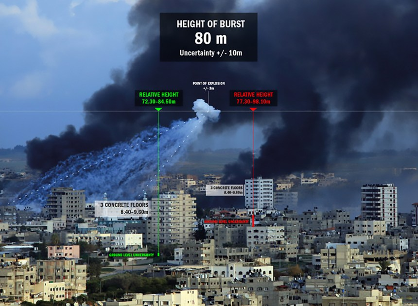 "The Use of White Phosphorus in Urban Environments 1: Methodology for the calculation of the Height of Burst (HoB) of a White Phosphorus projectile on a still photograph of Rafah (Gaza Strip) on 11 January 2009, using reference heights of surrounding architectural features. Extract from the report ""The Use of White Phosphorus Munitions in Urban Environments: An Effects-Based Analysis"" by Forensic Architecture and Situ Studio (2012). Photography by Iyad El Baba/UNICEF. Courtesy of Forensic Architecture."