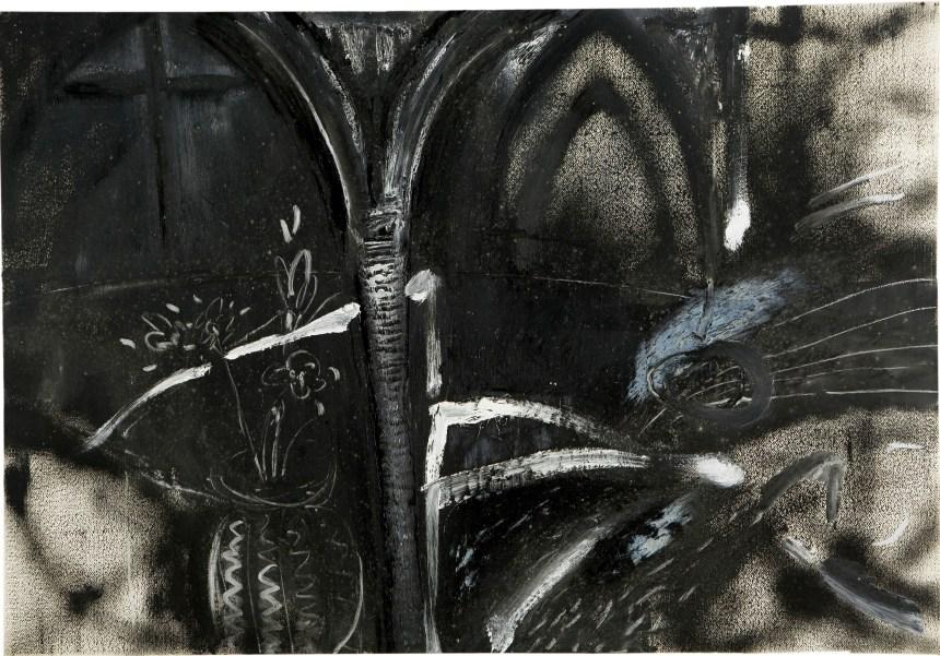 江賢二,《巴黎聖母院》,1982 油彩、畫紙 75x108 cm 藝術家自藏 ©臺北市立美術館及藝術家提供