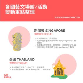 新加坡美術館:照常開放 新加坡國家畫廊(National Gallery Singapore):照常開放 新加坡大學博物館:照常開放,但原訂於3/13-28的新加坡大學藝術節(NUS Art Festival)取消
